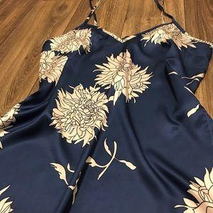 Navy blue satin like slip night dress flower L